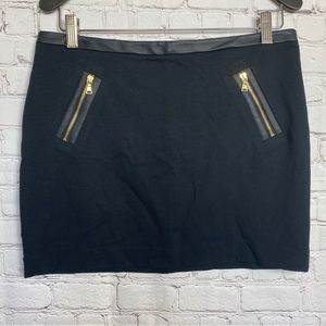 Express Black Mini Skirt with faux leather trim